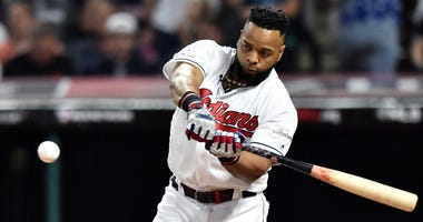 Jul 8, 2019; Cleveland, OH, USA; Cleveland Indians first baseman Carlos Santana (41) during the first round in the 2019 MLB Home Run Derby at Progressive Field. Mandatory Credit: Ken Blaze-USA TODAY Sports