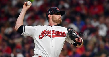 Jul 9, 2019; Cleveland, OH, USA; American League pitcher Shane Bieber (57) of the Cleveland Indians throws against the National League during the fifth inning in the 2019 MLB All Star Game at Progressive Field. Mandatory Credit: Ken Blaze-USA TODAY Sports