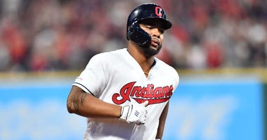 Jul 13, 2019; Cleveland, OH, USA; Cleveland Indians designated hitter Bobby Bradley (40) rounds the bases after hitting a home run during the seventh inning against the Minnesota Twins at Progressive Field. Mandatory Credit: Ken Blaze-USA TODAY Sports