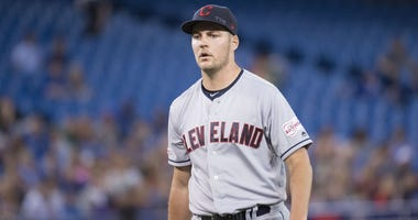 Jul 23, 2019; Toronto, Ontario, CAN; Cleveland Indians starting pitcher Trevor Bauer (47) walks towards the dugout after getting the third out during the sixth inning against the Toronto Blue Jays at Rogers Centre. Mandatory Credit: Nick Turchiaro-USA TOD