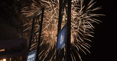 Fireworks at the conclusion of the Pro Football Hall of Fame Enshrinement at Tom Benson Hall of Fame Stadium.