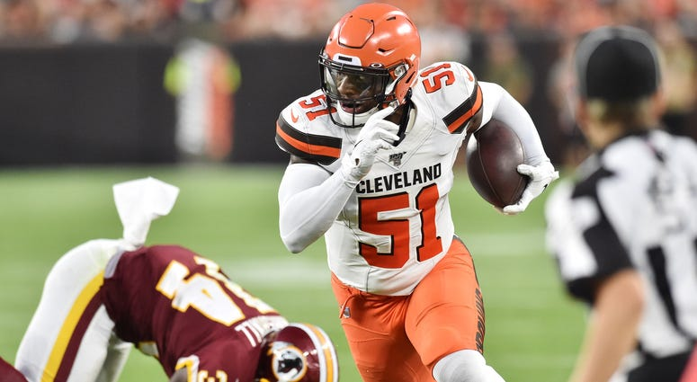 Cleveland Browns linebacker Mack Wilson (51) returns an interception for a touchdown during the first half against the Washington Redskins at FirstEnergy Stadium.