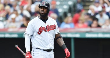 Aug 14, 2019; Cleveland, OH, USA; Cleveland Indians designated hitter Franmil Reyes (32) walks to the dugout after striking out against the Boston Red Sox during the sixth inning at Progressive Field. Mandatory Credit: Ken Blaze-USA TODAY Sports