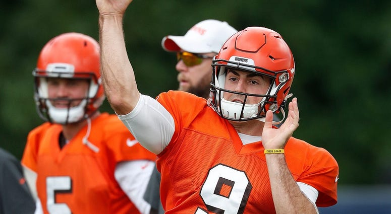 Former Purdue Boilermaker now Cleveland Browns quarterback David Blough (9) during their preseason training camp practice at Grand Park in Westfield on Wednesday, August 14, 2019. Colts Preseason Training Camp