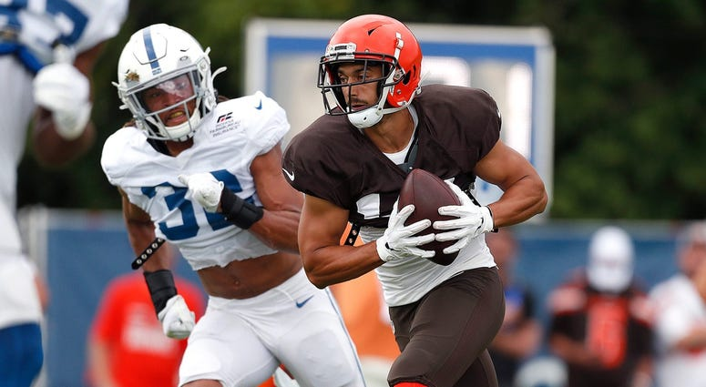 Cleveland Browns wide receiver Damon Sheehy-Guiseppi (15) runs by Indianapolis Colts cornerback Jalen Collins (32) during their preseason training camp practice at Grand Park in Westfield on Wednesday, August 14, 2019. Colts Preseason Training Camp