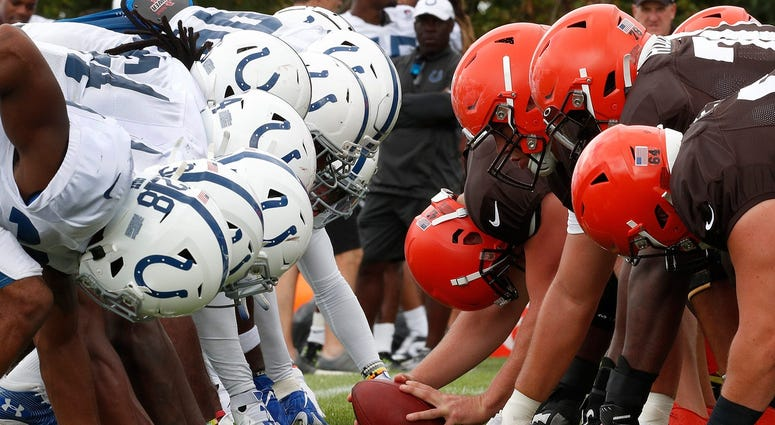 The Indianapolis Colts and Cleveland Browns special teams work against each other during their preseason training camp practice at Grand Park in Westfield on Wednesday, August 14, 2019. Colts Preseason Training Camp