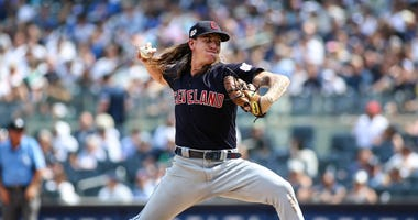 Cleveland Indians pitcher Mike Clevinger (52) pitches in the fourth inning against the New York Yankees at Yankee Stadium.