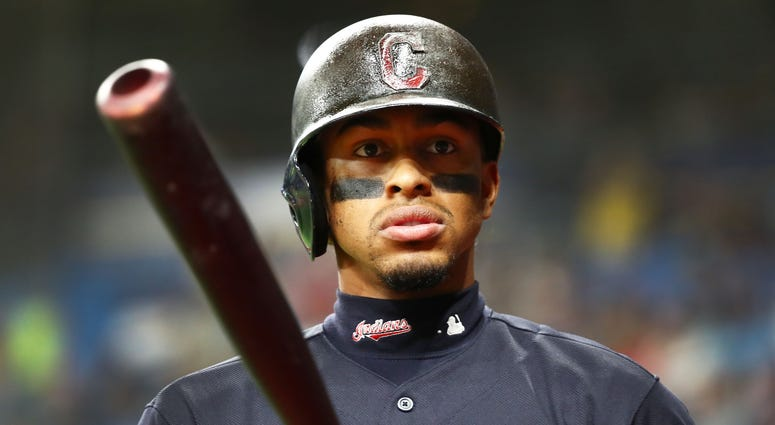 Aug 30, 2019; St. Petersburg, FL, USA; Cleveland Indians shortstop Francisco Lindor (12) on deck to bat during the second inning against the Tampa Bay Rays at Tropicana Field. Mandatory Credit: Kim Klement-USA TODAY Sports