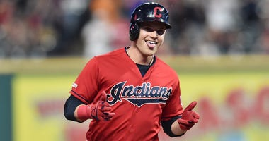 Sep 2, 2019; Cleveland, OH, USA; Cleveland Indians pinch hitter Jake Bauers (10) rounds the bases after hitting a two-run home run during the fourth inning against the Chicago White Sox at Progressive Field. Mandatory Credit: Ken Blaze-USA TODAY Sports