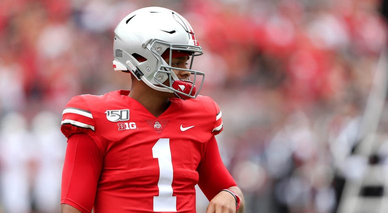 Aug 31, 2019; Columbus, OH, USA; Ohio State Buckeyes quarterback Justin Fields (1) before the game against the Florida Atlantic Owls at Ohio Stadium. Mandatory Credit: Joe Maiorana-USA TODAY Sports