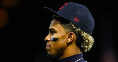 Sep 6, 2019; Minneapolis, MN, USA; Cleveland Indians shortstop Francisco Lindor (12) looks on in the fifth inning against the Minnesota Twins at Target Field. Mandatory Credit: David Berding-USA TODAY Sports