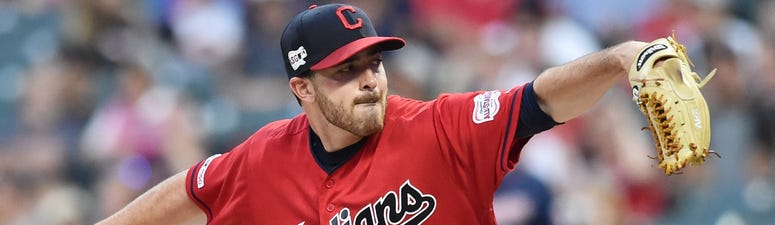 Sep 13, 2019; Cleveland, OH, USA; Cleveland Indians starting pitcher Aaron Civale (67) throws a pitch during the first inning against the Minnesota Twins at Progressive Field. Mandatory Credit: Ken Blaze-USA TODAY Sports