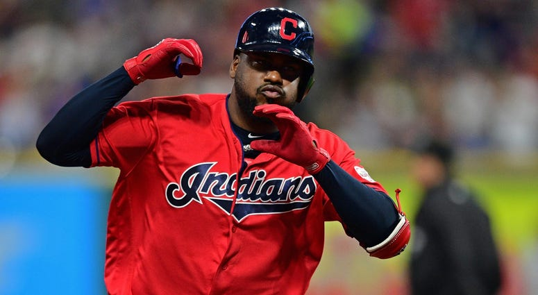 Sep 19, 2019; Cleveland, OH, USA; Cleveland Indians designated hitter Franmil Reyes (32) rounds the bases after hitting a two run home run during the fourth inning against the Detroit Tigers at Progressive Field. Mandatory Credit: David Dermer-USA TODAY S
