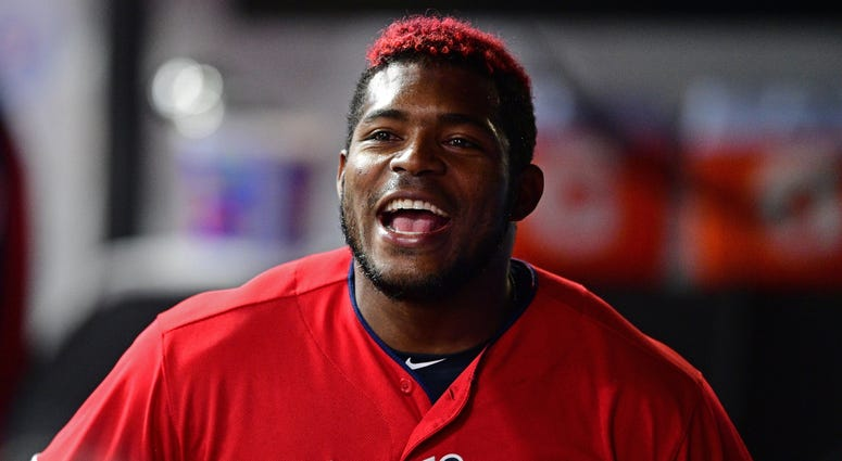 Sep 19, 2019; Cleveland, OH, USA; Cleveland Indians right fielder Yasiel Puig (66) smiles in the dugout during the fourth inning against the Detroit Tigers at Progressive Field. Mandatory Credit: David Dermer-USA TODAY Sports
