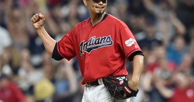 Sep 20, 2019; Cleveland, OH, USA; Cleveland Indians pitcher Carlos Carrasco (59) celebrates after defeating the Philadelphia Phillies at Progressive Field. Mandatory Credit: Ken Blaze-USA TODAY Sports