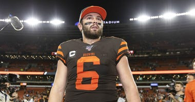 Sep 22, 2019; Cleveland, OH, USA; Cleveland Browns quarterback Baker Mayfield (6) after the game against the Los Angeles Rams at FirstEnergy Stadium. The Rams won 20-13. Mandatory Credit: Scott R. Galvin-USA TODAY Sports