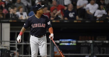 Indians third baseman Jose Ramirez (11) hits a three run home run in the third inning against the Chicago White Sox at Guaranteed Rate Field. Mandatory Credit: Quinn Harris-USA TODAY Sports