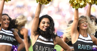 Sep 29, 2019; Baltimore, MD, USA; Baltimore Ravens cheerleaders perform against the Cleveland Browns at M&T Bank Stadium. Mandatory Credit: Mitchell Layton-USA TODAY Sports