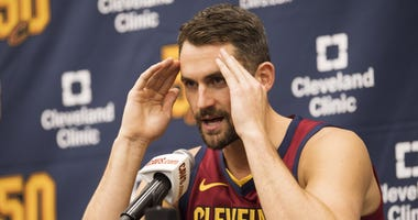 Sep 30, 2019; Independence, OH, USA; Cleveland Cavaliers forward Kevin Love (0) talks with the media during media day at Cleveland Clinic Courts. Mandatory Credit: Ken Blaze-USA TODAY Sports