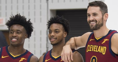 Sep 30, 2019; Independence, OH, USA; Cleveland Cavaliers guard Collin Sexton (2) and guard Darius Garland (10) and forward Kevin Love (0) pose for a photo during media day at Cleveland Clinic Courts. Mandatory Credit: Ken Blaze-USA TODAY Sports