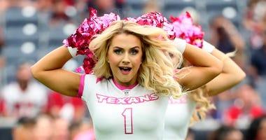 Oct 6, 2019; Houston, TX, USA; Houston Texans cheerleader performs before the game against the Atlanta Falcons at NRG Stadium. Mandatory Credit: Kevin Jairaj-USA TODAY Sports