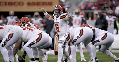 Oct 7, 2019; Santa Clara, CA, USA; Cleveland Browns quarterback Baker Mayfield (6) calls a play against the San Francisco 49ers in the first quarter at Levi's Stadium. Mandatory Credit: Cary Edmondson-USA TODAY Sports