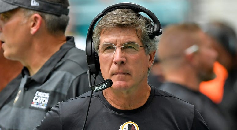 Washington Redskins interim head coach Bill Callahan reacts during the first half against the Miami Dolphins at Hard Rock Stadium.