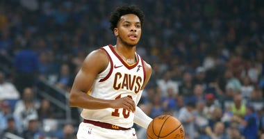 Oct 23, 2019; Orlando, FL, USA; Cleveland Cavaliers guard Darius Garland (10) brings the ball down court against the Orlando Magic during the first quarter at Amway Center. Mandatory Credit: Reinhold Matay-USA TODAY Sports