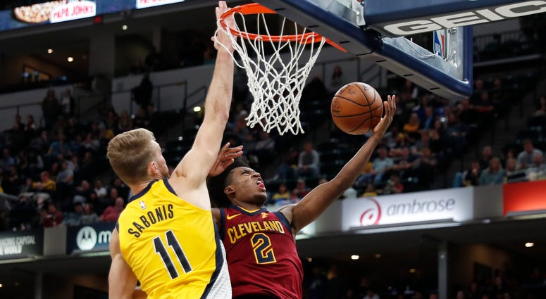 Cleveland Cavaliers guard Collin Sexton (2) takes a shot against Indiana Pacers forward Domantas Sabonis (11)