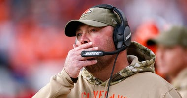 Cleveland Browns head coach Freddie Kitchens looks on from the sidelines in the second quarter against the Denver Broncos at Empower Field at Mile High.