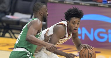 Nov 5, 2019; Cleveland, OH, USA; Boston Celtics guard Kemba Walker (8) defends Cleveland Cavaliers guard Collin Sexton (2) in the first quarter at Rocket Mortgage FieldHouse. Mandatory Credit: David Richard-USA TODAY Sports