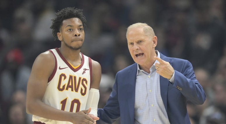 Nov 5, 2019; Cleveland, OH, USA; Cleveland Cavaliers head coach John Beilein talks to guard Darius Garland (10) in the second quarter against the Boston Celtics at Rocket Mortgage FieldHouse. Mandatory Credit: David Richard-USA TODAY Sports