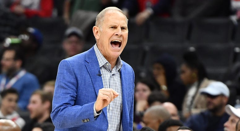 Nov 8, 2019; Washington, DC, USA; Cleveland Cavaliers head coach John Beilein reacts against the Washington Wizards during the first quarter at Capital One Arena. Mandatory Credit: Brad Mills-USA TODAY Sports