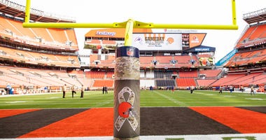 Nov 10, 2019; Cleveland, OH, USA; The Cleveland Browns and NFL Salute to Service emblem wraps the goal post for the game against the Buffalo Bills at FirstEnergy Stadium. Mandatory Credit: Scott R. Galvin-USA TODAY Sports