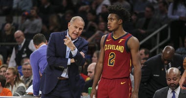 Nov 10, 2019; New York, NY, USA; Cleveland Cavaliers head coach John Beilein gives instructions to guard Colin Sexton (2) in the second quarter against the New York Knicks at Madison Square Garden. Mandatory Credit: Wendell Cruz-USA TODAY Sports