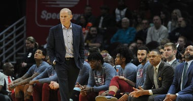 Nov 14, 2019; Cleveland, OH, USA; Cleveland Cavaliers head coach John Beilein walks courtside during the first quarter against the Miami Heat at Rocket Mortgage FieldHouse. Mandatory Credit: Philip G. Pavely-USA TODAY Sports