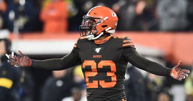 Nov 14, 2019; Cleveland, OH, USA; Cleveland Browns free safety Damarious Randall (23) reacts after being ejected during the second half against the Pittsburgh Steelers at FirstEnergy Stadium.