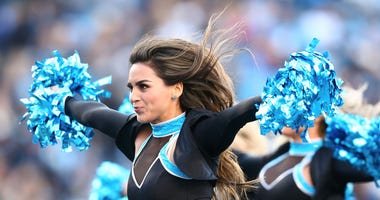 Nov 17, 2019; Charlotte, NC, USA; The Carolina Panthers cheerleaders perform during a timeout in the game against the Atlanta Falcons at Bank of America Stadium. Mandatory Credit: Jeremy Brevard-USA TODAY Sports