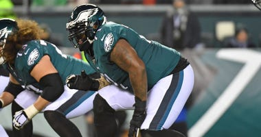 Nov 17, 2019; Philadelphia, PA, USA; Philadelphia Eagles offensive tackle Jason Peters (71) prepares for the snap against the New England Patriots at Lincoln Financial Field.