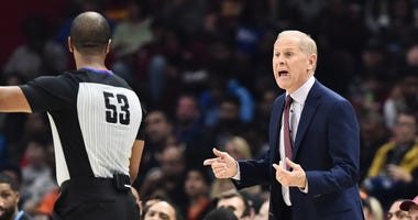 Nov 23, 2019; Cleveland, OH, USA; Cleveland Cavaliers head coach John Beilein argues with official John Butler during the first half against the Portland Trail Blazers at Rocket Mortgage FieldHouse. Mandatory Credit: Ken Blaze-USA TODAY Sports