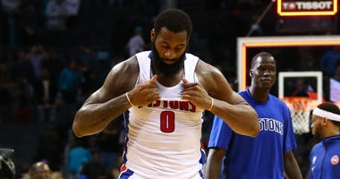 Nov 27, 2019; Charlotte, NC, USA; Detroit Pistons center Andre Drummond (0) rips his jersey after a loss to the Charlotte Hornets at Spectrum Center. Mandatory Credit: Jeremy Brevard-USA TODAY Sports