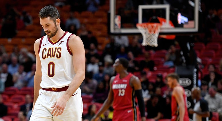 Nov 20, 2019; Miami, FL, USA; Cleveland Cavaliers forward Kevin Love (0) reacts against the Miami Heat during the first half at American Airlines Arena. Mandatory Credit: Steve Mitchell-USA TODAY Sports