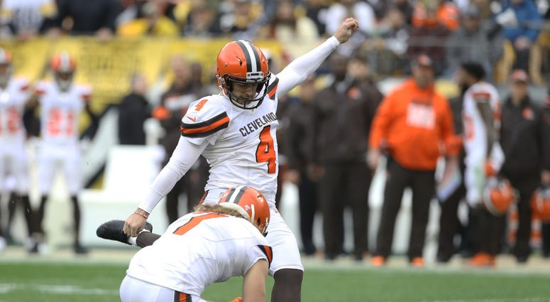 Dec 1, 2019; Pittsburgh, PA, USA; Cleveland Browns kicker Austin Seibert (4) kicks a field goal against the Pittsburgh Steelers during the first quarter at Heinz Field. Mandatory Credit: Charles LeClaire-USA TODAY Sports