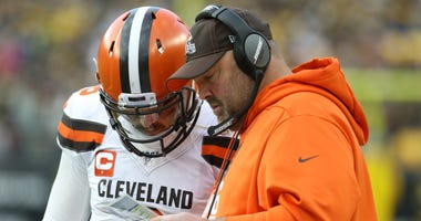 Cleveland Browns head coach Freddie Kitchens with quarterback Baker Mayfield