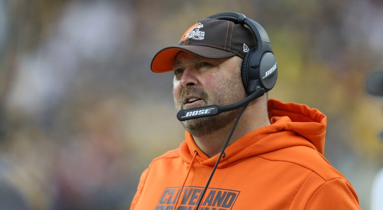 Cleveland Browns head coach Freddie Kitchens looks on from the sidelines against the Pittsburgh Steelers during the second quarter at Heinz Field. The Steelers won 20-13.