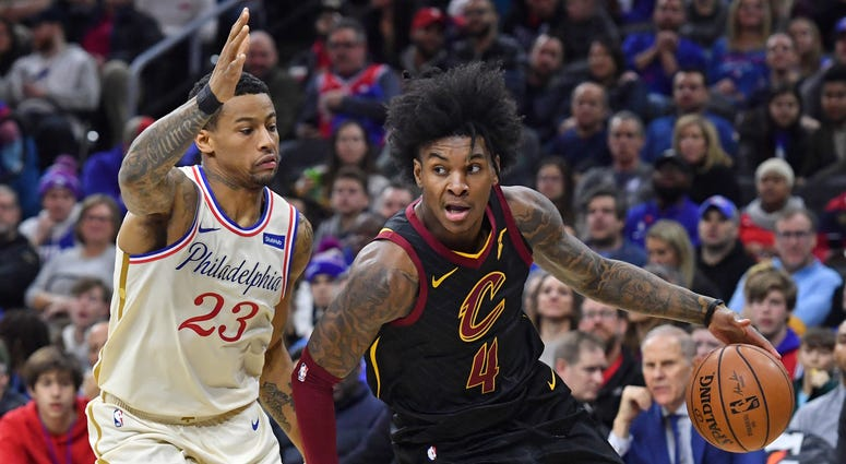 Cleveland Cavaliers guard Kevin Porter Jr. (4) drives to the basket against Philadelphia 76ers guard Trey Burke (23)