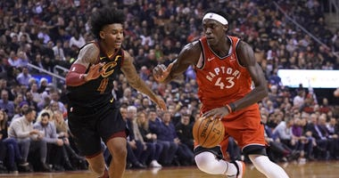 Dec 16, 2019; Toronto, Ontario, CAN; Toronto Raptors forward Pascal Siakam (43) drives to the net against Cleveland Cavaliers guard Kevin Porter Jr (4) during the first half at Scotiabank Arena. Mandatory Credit: John E. Sokolowski-USA TODAY Sports