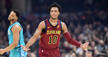 Jan 2, 2020; Cleveland, Ohio, USA; Cleveland Cavaliers guard Darius Garland (10) celebrates after hitting a three pointer during the first half against the Charlotte Hornets at Rocket Mortgage FieldHouse. Mandatory Credit: Ken Blaze-USA TODAY Sports
