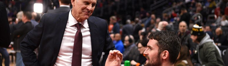 Jan 9, 2020; Detroit, Michigan, USA; Cleveland Cavaliers head coach John Beilein (left) talks to Cavaliers forward Kevin Love (0) prior to their game against the Detroit Pistons at Little Caesars Arena. Mandatory Credit: Tim Fuller-USA TODAY Sports