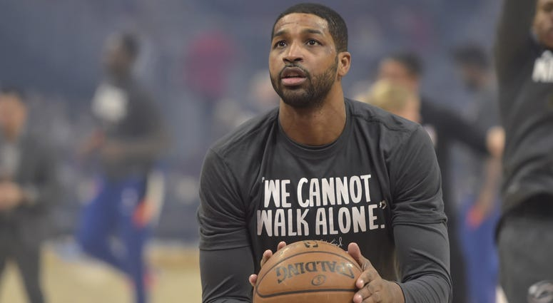 Jan 20, 2020; Cleveland, Ohio, USA; Cleveland Cavaliers center Tristan Thompson (13) warms up before a game against the New York Knicks at Rocket Mortgage FieldHouse. Mandatory Credit: David Richard-USA TODAY Sports